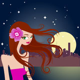 Beautiful girl with night city Stock Photo