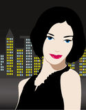 Beautiful girl in night city Stock Photo