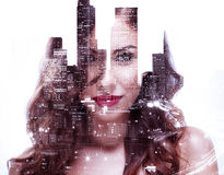 Beautiful girl and night cityscape. Double exposure of a beautiful girl and night cityscape Stock Images