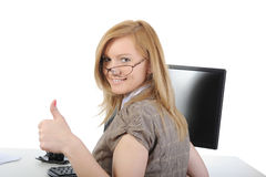 Beautiful girl in the office Stock Images