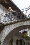 Beautiful  girl in the old courtyard of the Jewish quarter of Kazimierz in Krakow. Stock Photos