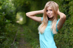 Beautiful girl on old railway Royalty Free Stock Image