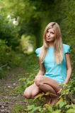 Beautiful girl on old railway Stock Photography