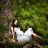 Beautiful girl on old tree Royalty Free Stock Image