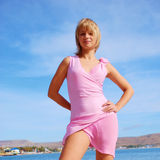 Beautiful Girl On A Beach In A Short Dress Royalty Free Stock Photos