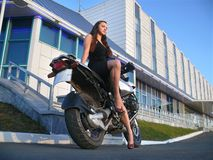 Beautiful Girl On A Motorcycle. Stock Photography