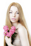 Beautiful Girl On A White Background With Roses