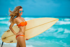 Free Beautiful Girl On Beach With Surfboard Stock Images - 75738774