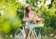 Beautiful Girl On Bike Royalty Free Stock Photography