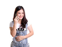 Beautiful Girl On Phone Isolated Copyspace Stock Images