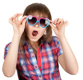 Beautiful girl in open-mouthed sunglasseses Stock Photography