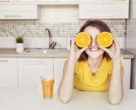 Beautiful Girl with Orange Stock Photo