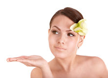 Beautiful girl with orchid flower. Royalty Free Stock Photos