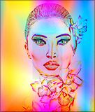 Beautiful Girl With Orchid Flowers, abstract digital art. Royalty Free Stock Photos