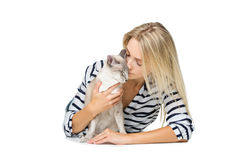 Beautiful girl with oriental siam cat stock images