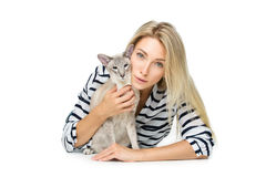 Beautiful girl with oriental siam cat stock image