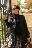 Beautiful Girl out door. Beautiful girl Show shopping 2015 fashion dress Royalty Free Stock Photo
