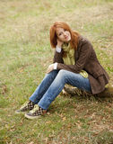 Beautiful girl at outdoor in autumn time Stock Photography