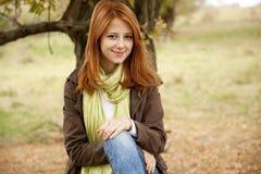 Beautiful girl at outdoor in autumn time Stock Photos