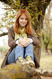 Beautiful girl at outdoor in autumn time Stock Photo
