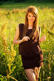 Beautiful girl outdoor on the field Stock Images