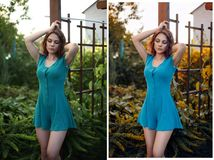 Beautiful girl outdoors before and after retouch. stock images