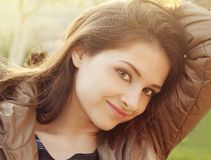 Beautiful girl outdoors sunny day Royalty Free Stock Photography