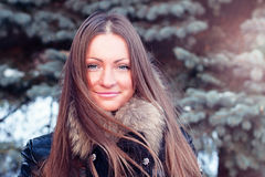 Beautiful girl outdoors winter fashion lifestyle, leisure park, portrait woman smiling happy student Stock Images