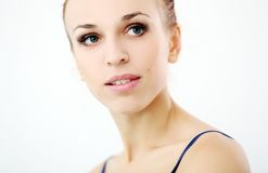 Beautiful girl over a white background Royalty Free Stock Photography