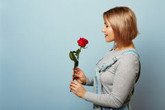 Beautiful girl in the overalls with red roses in hands on a blue background. Women`s hands are holding a bouquet of. Beautiful girl in the overalls with red Royalty Free Stock Photo
