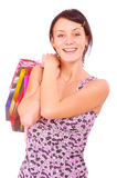 Beautiful girl with packages after shopping Stock Photo