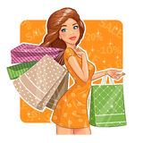 Beautiful girl with packages. Shopping. Stock Photography