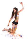 Beautiful girl paints Royalty Free Stock Photo