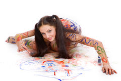 Beautiful girl paints Royalty Free Stock Photography