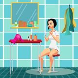 Beautiful girl paints nails sitting on a stool in the bathroom. Flat cartoon  illustration Stock Photography