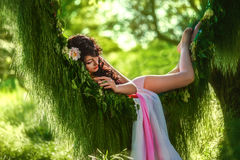 beautiful girl in pale pink dress royalty free stock images