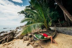 Beautiful girl on a Paradise beach royalty free stock images