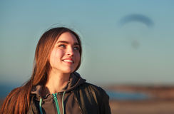 Beautiful girl and paraplane. Outdoor shoot Royalty Free Stock Photo