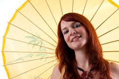 Beautiful girl with parasol smiling. Stock Photo