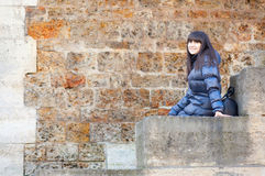 Beautiful girl at Parisian embankment Stock Images