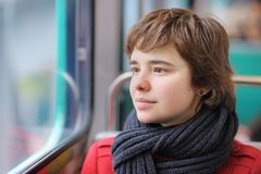 Beautiful girl in Parisian metro Royalty Free Stock Photos