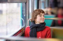 Beautiful girl in Parisian metro Royalty Free Stock Photography