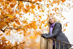 Beautiful Girl in Park. Beautiful smiling blond girl in autumn park Stock Photos