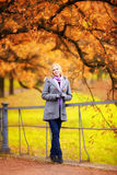 Beautiful Girl in Park. Beautiful smiling blond girl in autumn park Stock Image