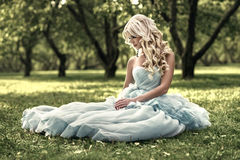 Beautiful girl in the park. Blue dress Royalty Free Stock Photos