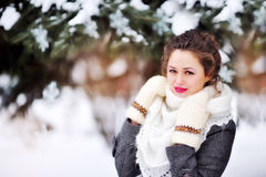 Beautiful girl in the park in winter shawl Royalty Free Stock Photo