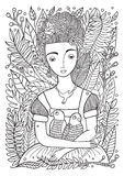 Beautiful Girl with Parrots Coloring Page Royalty Free Stock Photography