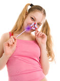 Beautiful girl with pen Royalty Free Stock Photo
