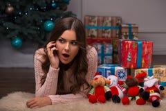 Beautiful girl pending Christmas Stock Photos