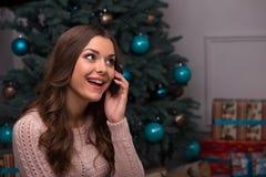Beautiful girl pending Christmas Royalty Free Stock Photo